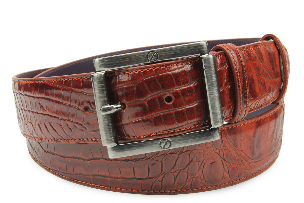 Cinnamon Tone Mock Croc Screw Belt