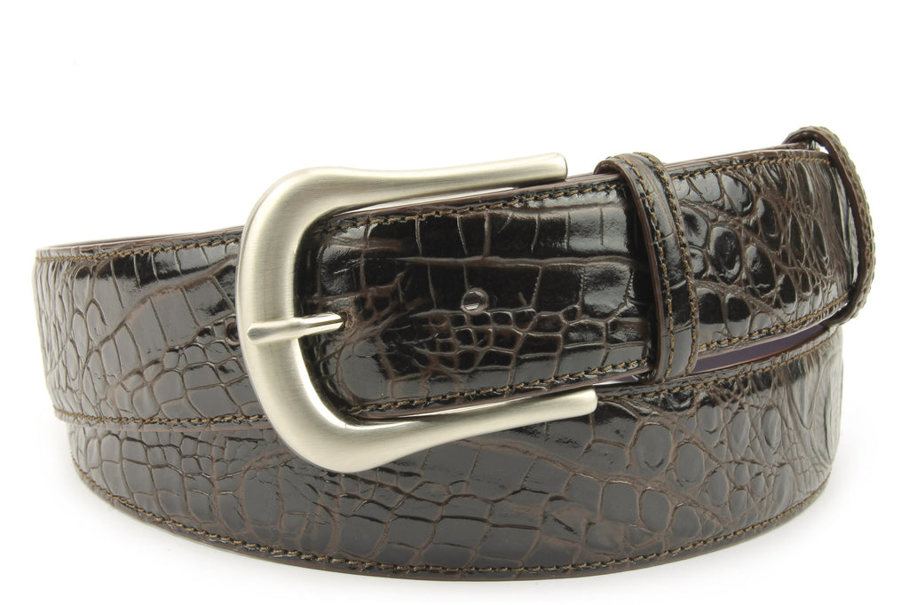 Deep Choc Mock Croc Prong Belt