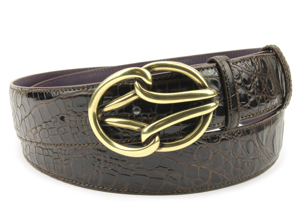 Deep Choc Mock Croc Reef Belt