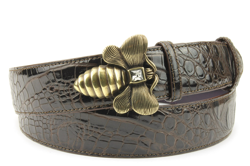 Deep Choc Mock Croc Bee Belt