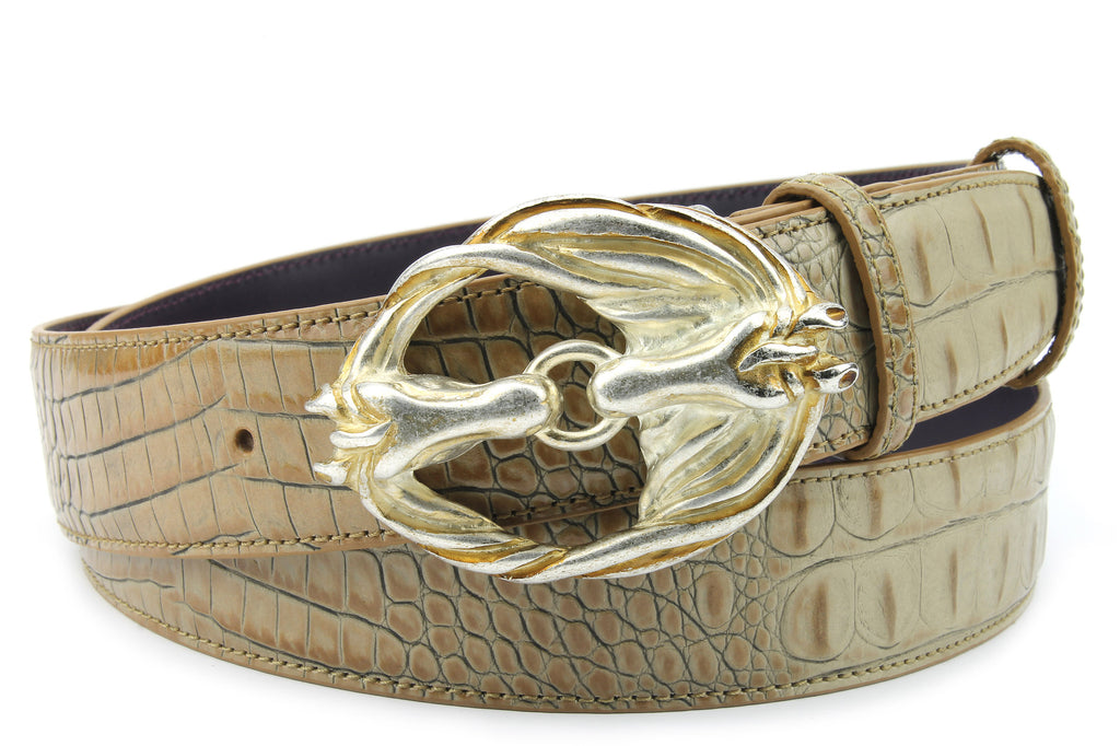 Magic Mushroom Mock Croc Horses Belt