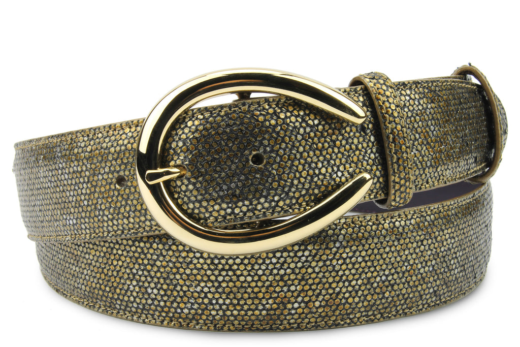Antique Gold Metallic Dimple Texture Belt