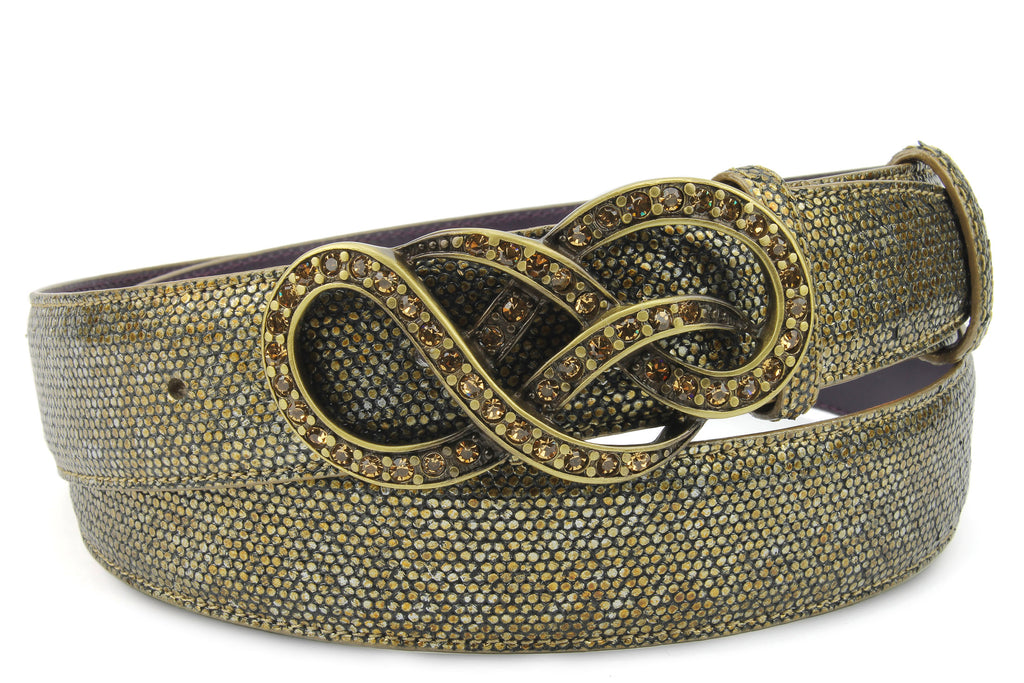 Antique Gold Metallic Dimple Texture Crystal Knot Belt