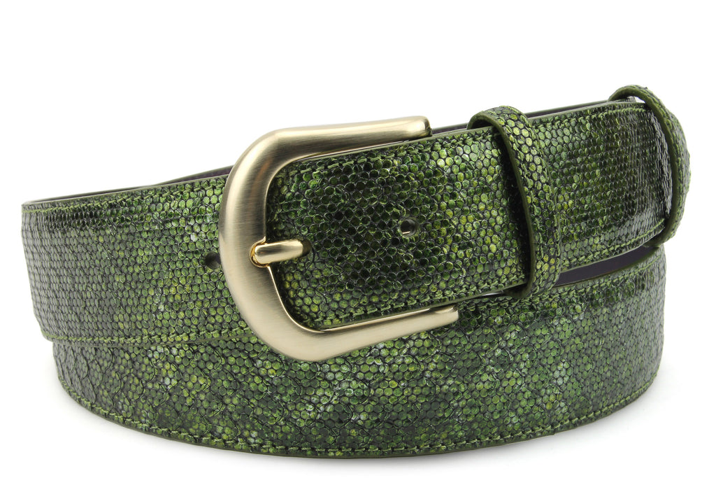Forest Green Metallic Dimple Texture Belt