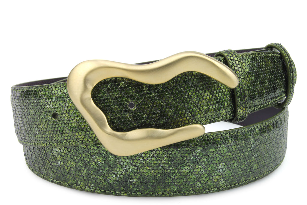 Forest Green Metallic Dimple Texture Swirl Belt