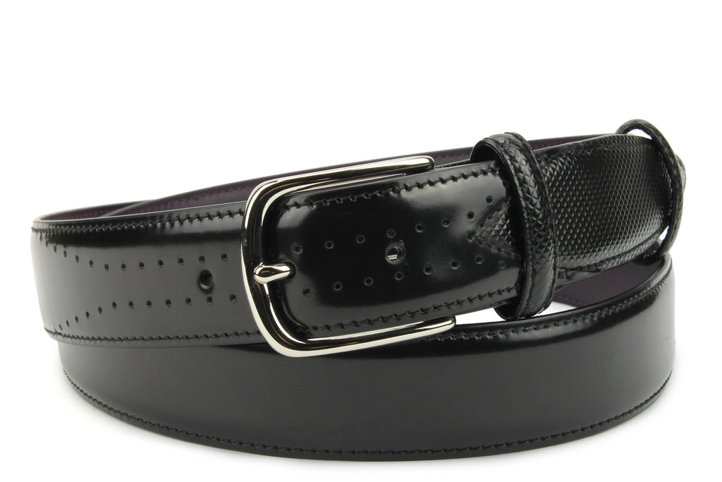 Black Belmondo Cordovan Effect Belt
