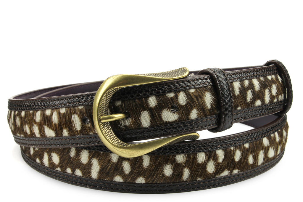 Jett Pony/Snake Mix Narrow Dark Choc Dimple Belt