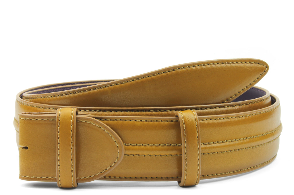 Redford Hand Burnished Champagne Tone Belt Strap