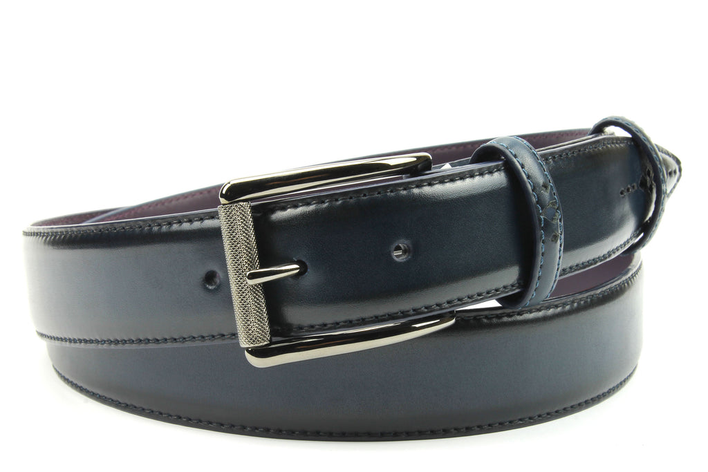 Denim Blue Eastwood Diamond Perforation Burnished Belt