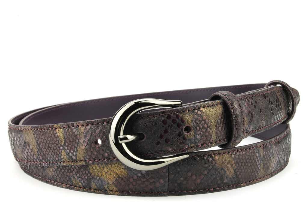 Skinny Bloodlust Metallic Python Effect Belt