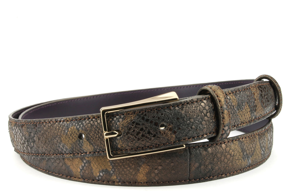 Skinny Copper Metallic Python Effect Belt