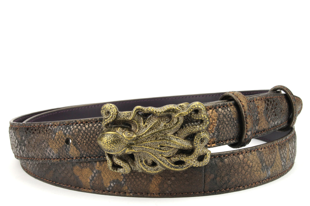 Skinny Copper Metallic Python Effect Squid Belt