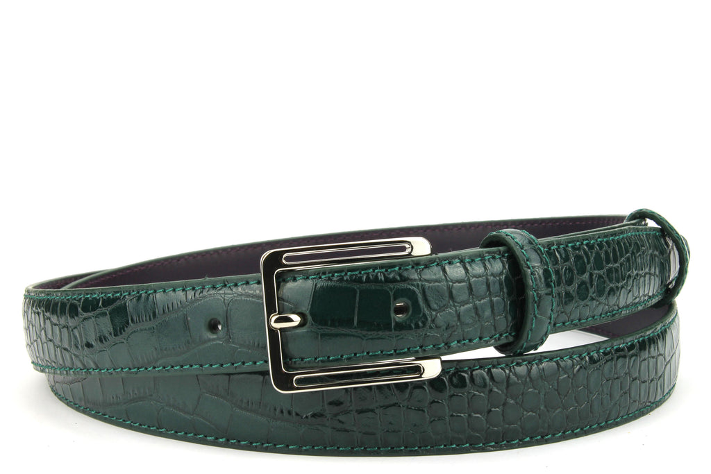 Skinny dark green mock croc belt with cut out slim buckle