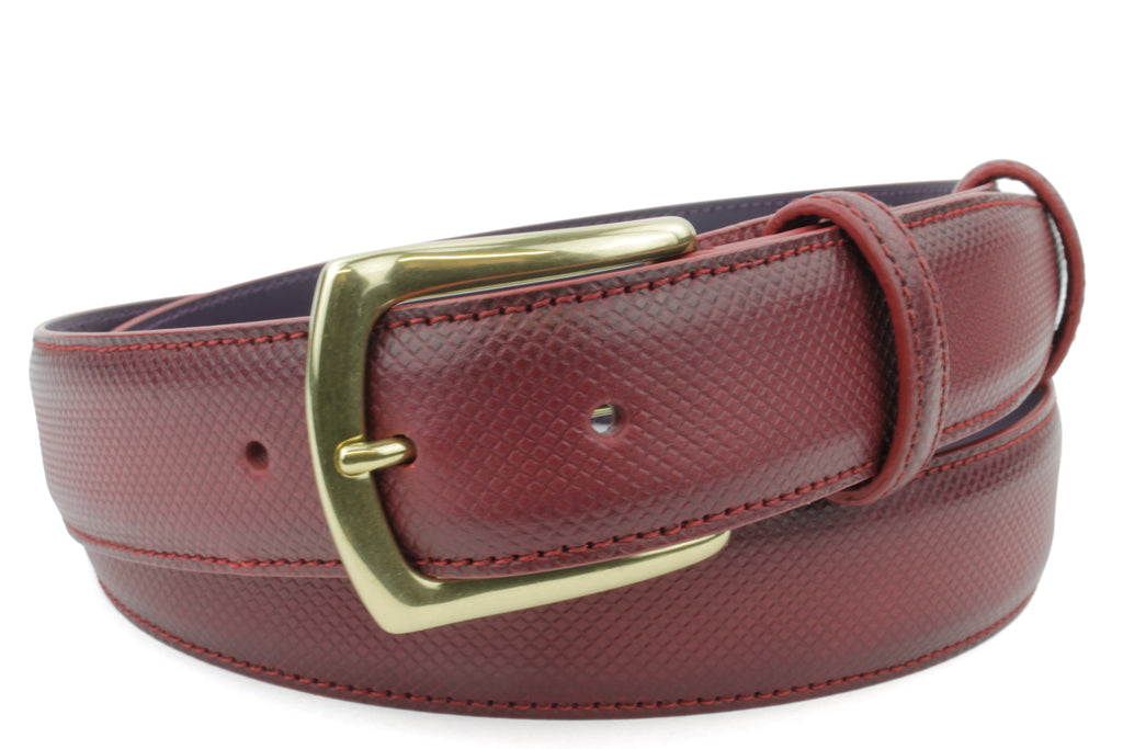 Burgundy Dadino Texture Burnished Belt