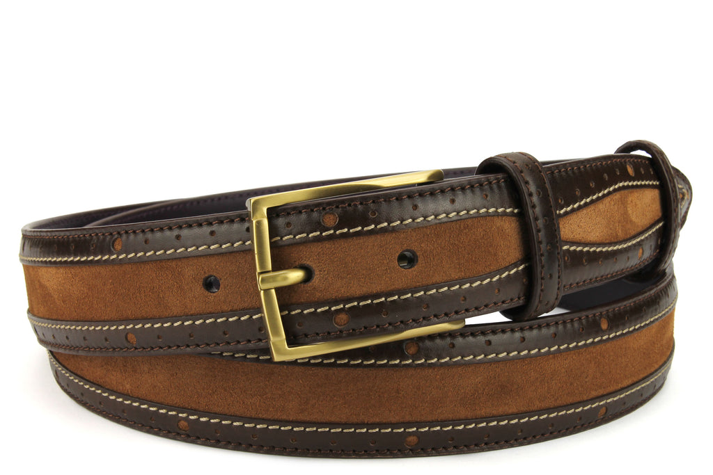 McLaren Dark Choc/Conker Two Tone Suede/Leather Mix Belt