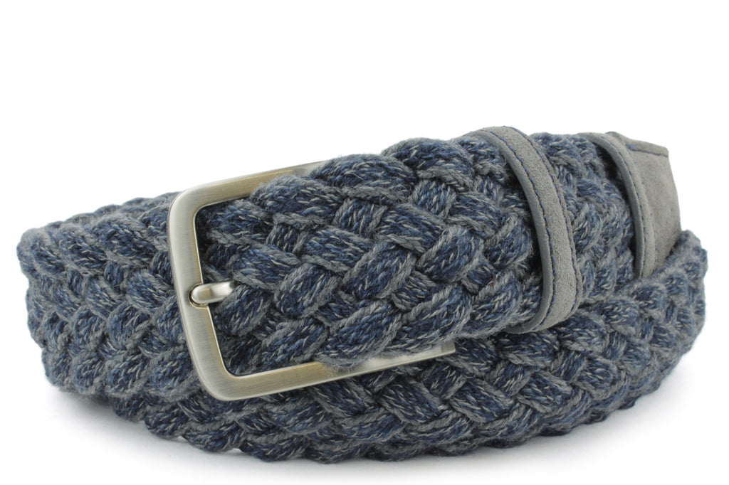 Connery Grey/Navy Wool Melange Handweave Belt