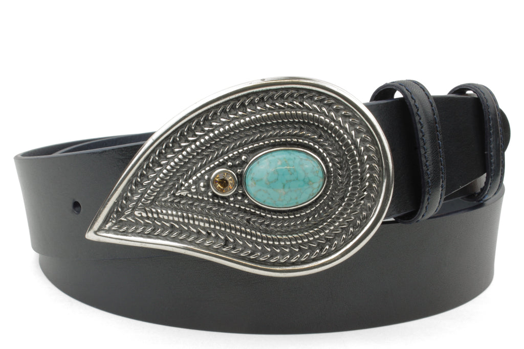 Supple Navy Unlined Turq Paisley Design Belt