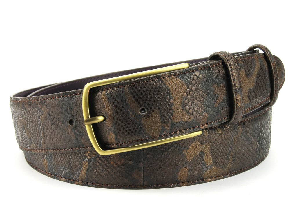Copper Metallic Python Effect Belt