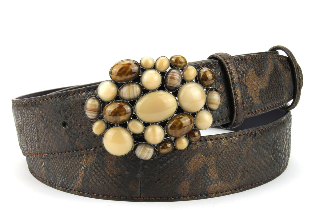 Copper Metallic Python Effect Bubble Belt