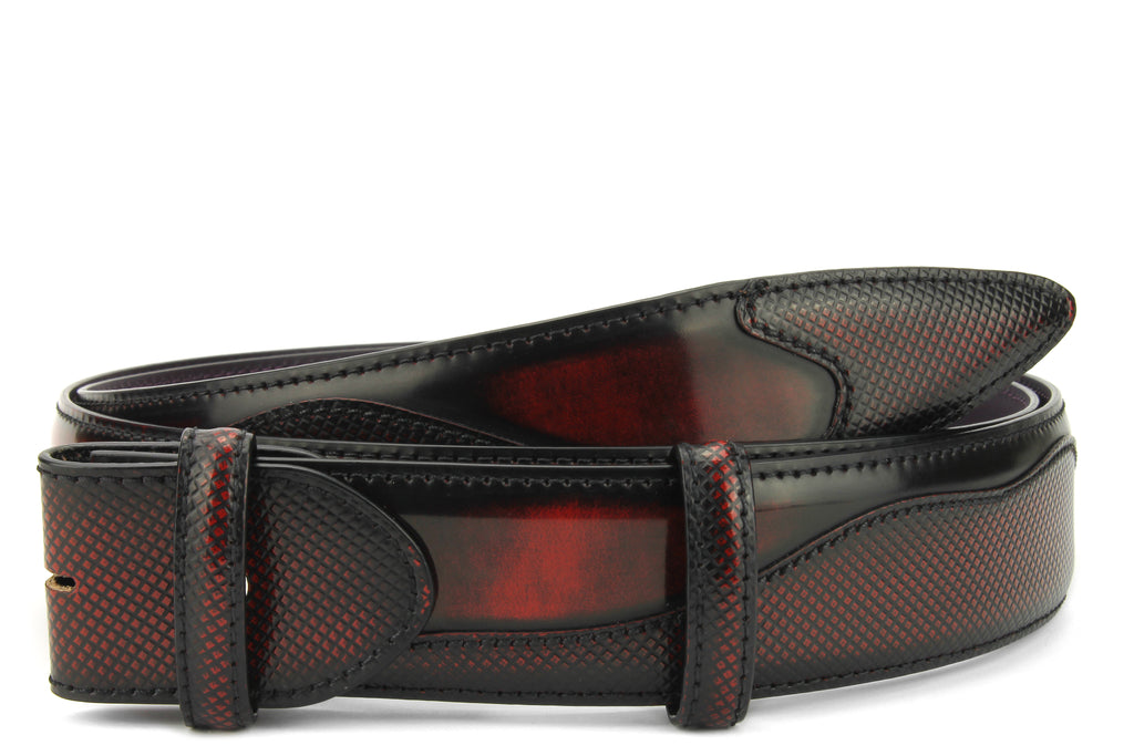 Belafonte Black/Red Mix Hand Burnished Belt Strap