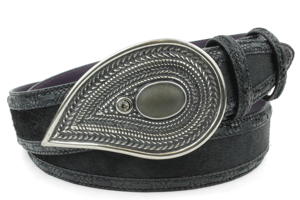 Iggy Black Mock Python/Pony Mix Saddle Stitch Paisley Crystal Belt