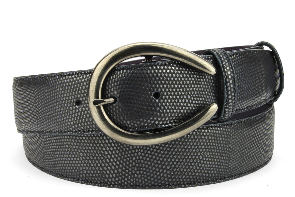 Deep Ocean Metallic Hued Lizard Texture C Belt