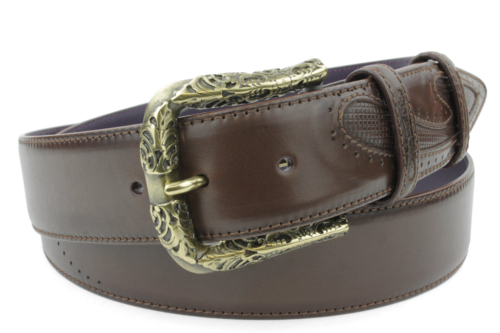 Deep Choc 'Silverado' Burnished Fretwork Prong Belt