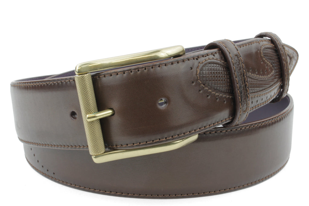 Deep Choc 'Silverado' Burnished Roller Detail Belt