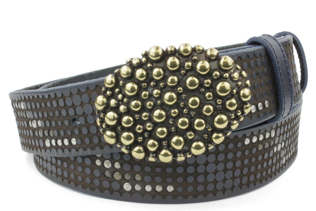 Clyde Navy Studded Bubble Oval Belt