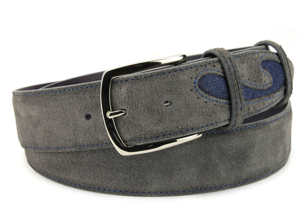 Silverado Dark Grey Suede Denim Insert Belt