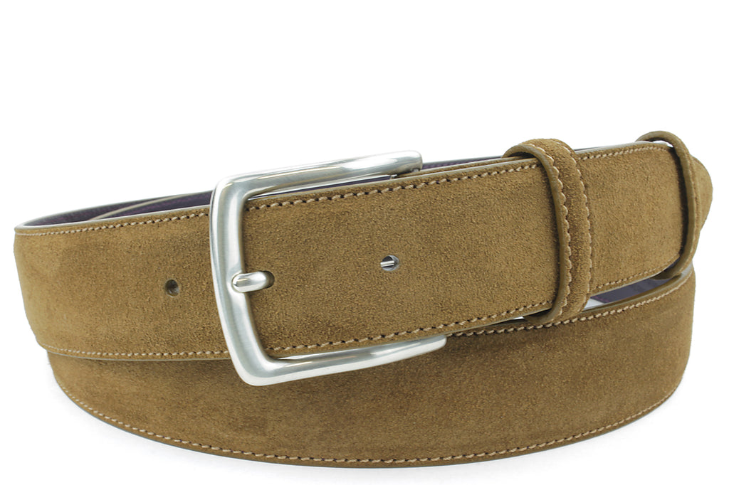 Conker Suede Kinked Prong Belt