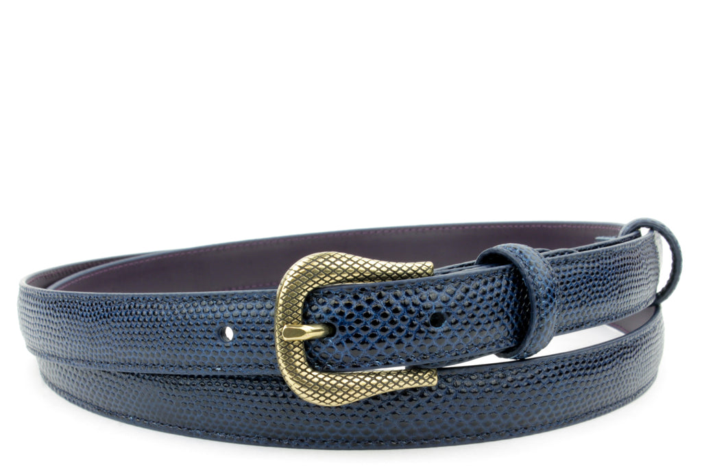 Skinny Navy Blue Tone Carung Texture Etched Prong Belt