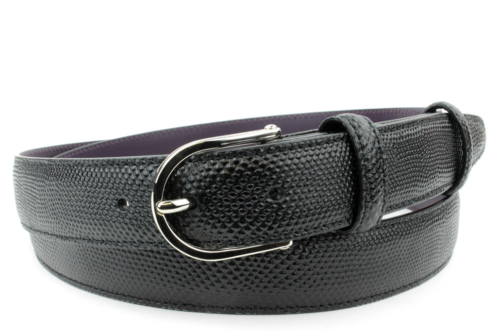 Narrow Black Carung Texture Slice Prong Belt