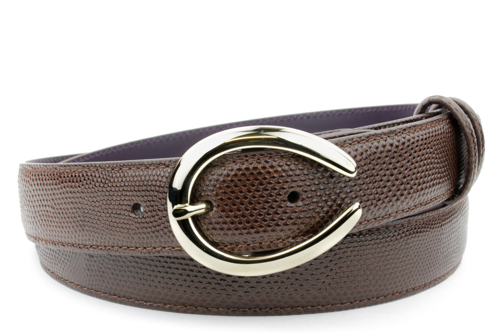 Dark Brown Narrow Carung Texture C Belt