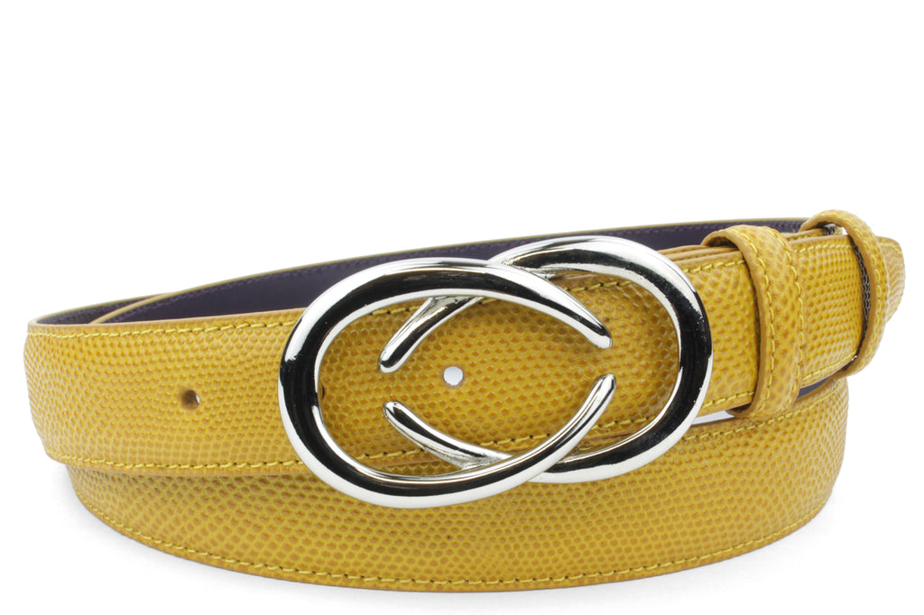 Mustard Tone Narrow Carung Texture Interlocking C Belt