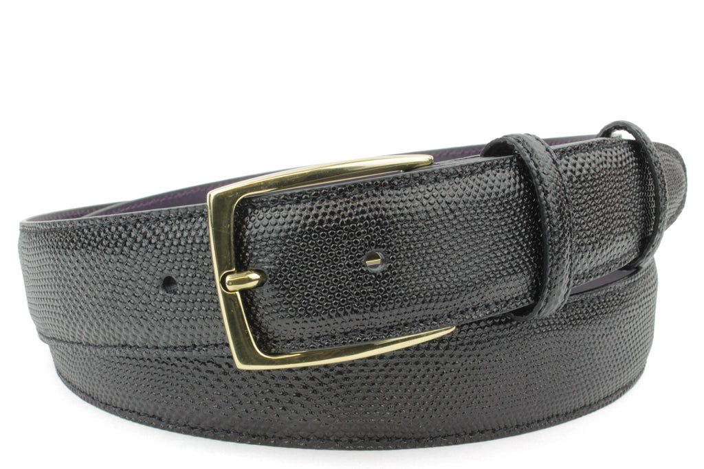 Black Carung Texture Sleek Gold Prong Belt