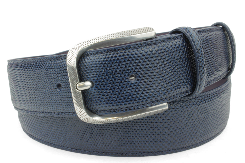 Navy Blue Tone Carung Texture Dimple Prong Belt