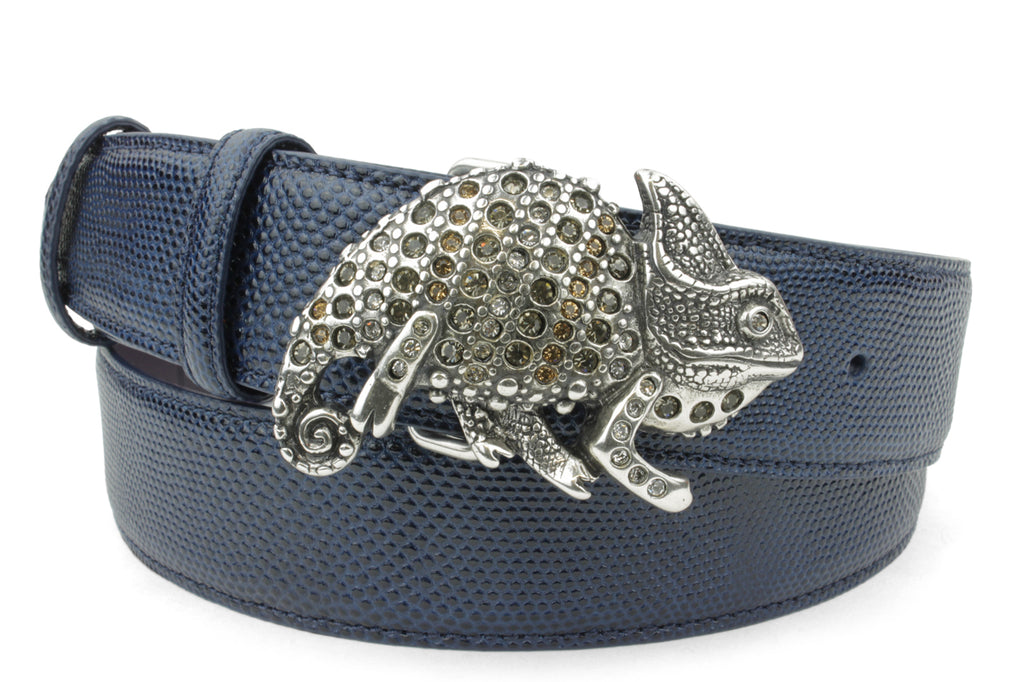 Navy Blue Tone Carung Texture Crystal Chameleon Belt