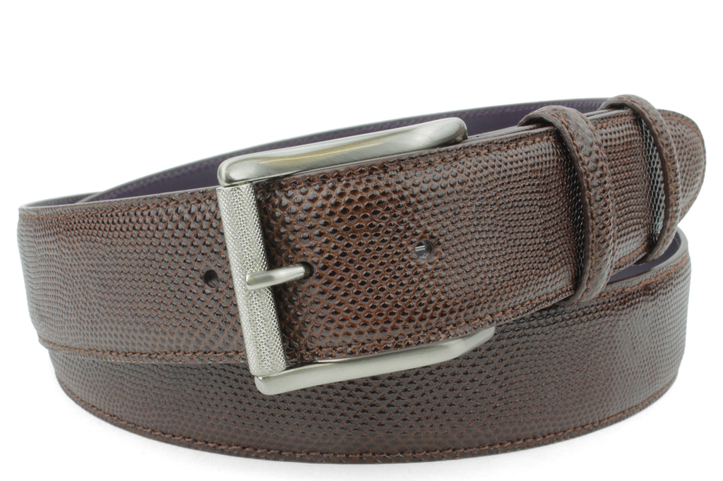 Dark Brown Carung Texture Satin Roller Prong Belt