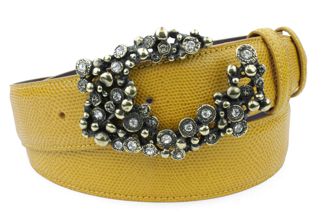 Mustard Tone Carung Texture Crystal Bubble Belt