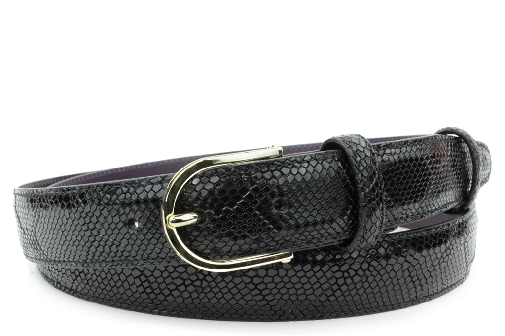 Black Narrow Mock Python Gold Prong Belt