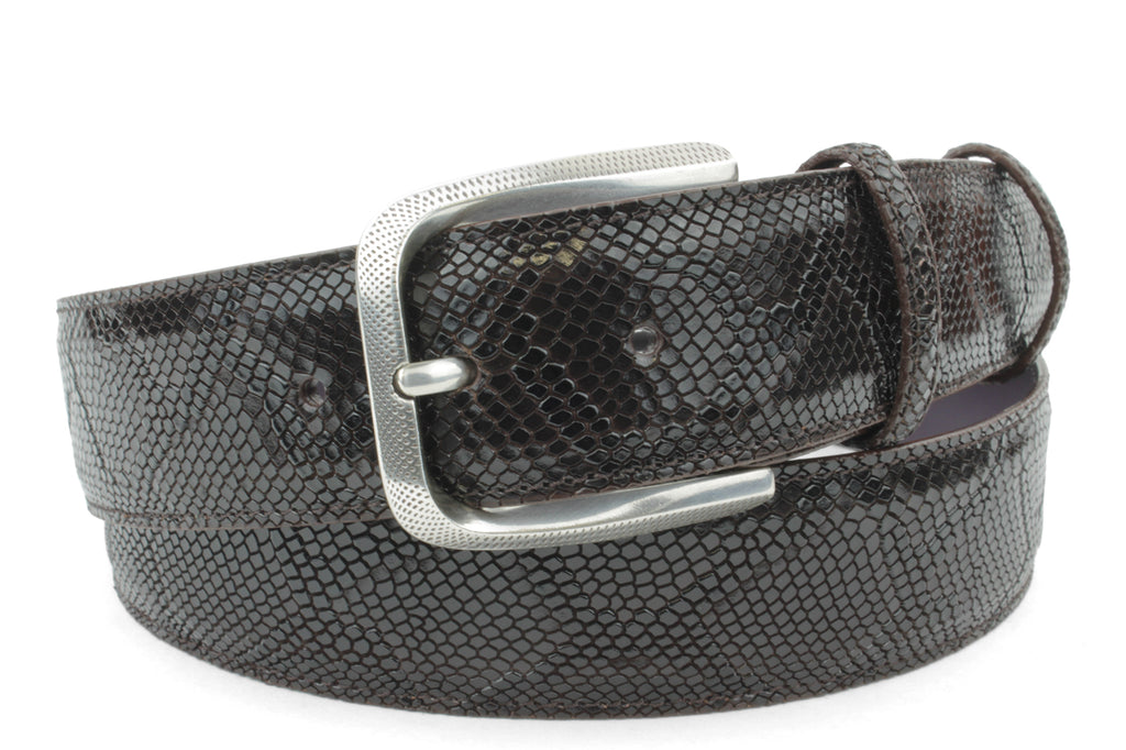 Deep Choc Mock Python Dimple Prong Belt