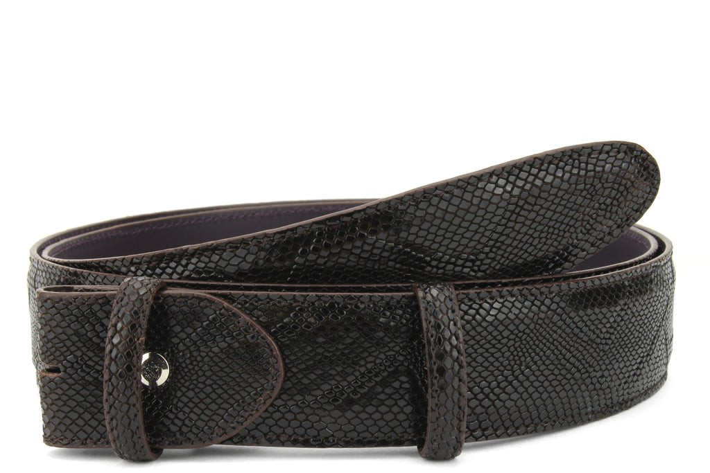 Deep Brown Mock Python Effect Belt Strap