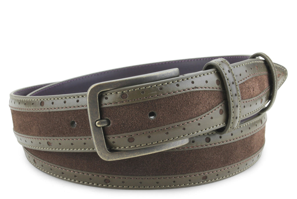 Mclaren Khaki/Dark Choc Two Tone Suede/Leather Mix Belt