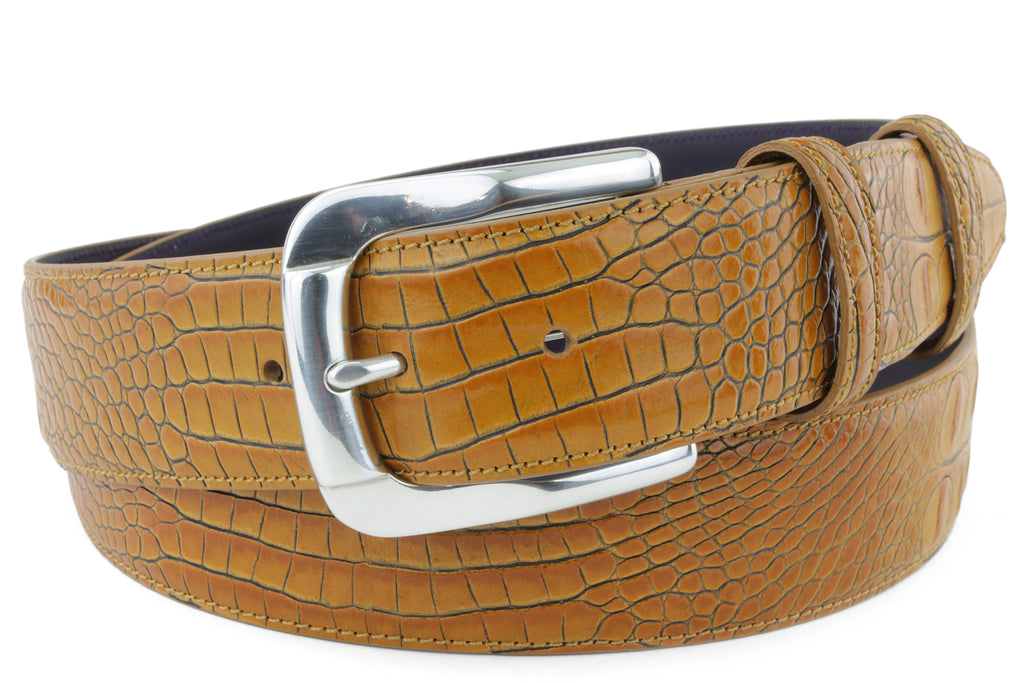 Ochre Mock Croc Belt
