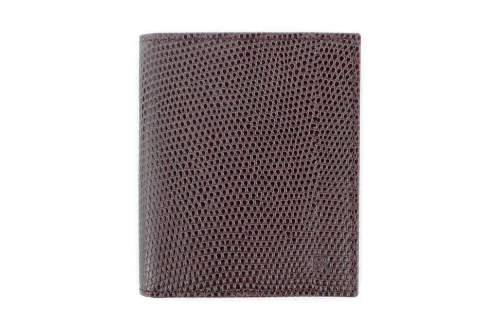 Burgundy with Dusky Pink mock iguana Holland Park wallet