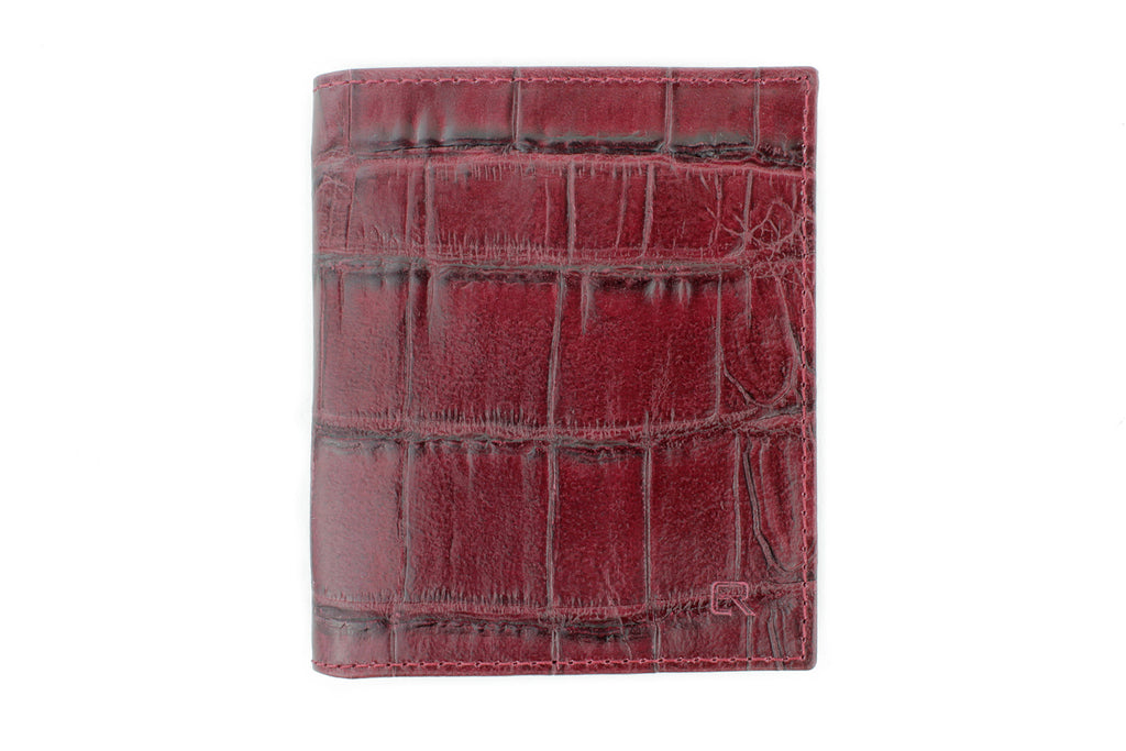 Burgundy mock crocodile Holland Park wallet