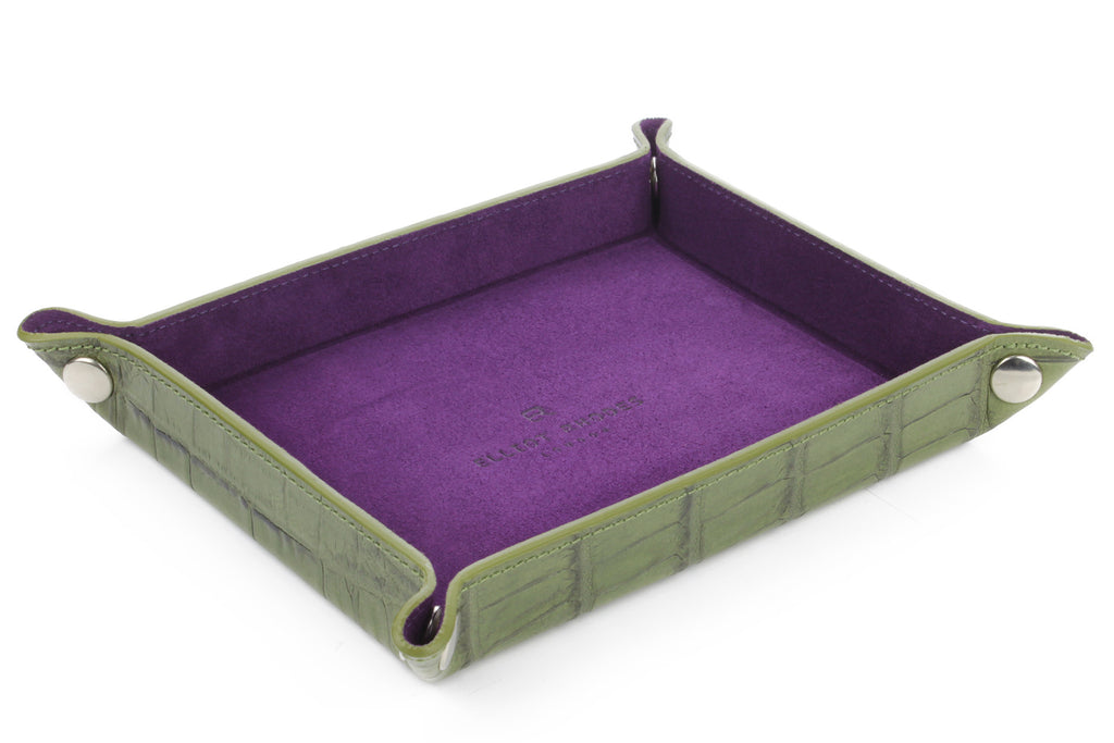 Military green mock crocodile occasional tray