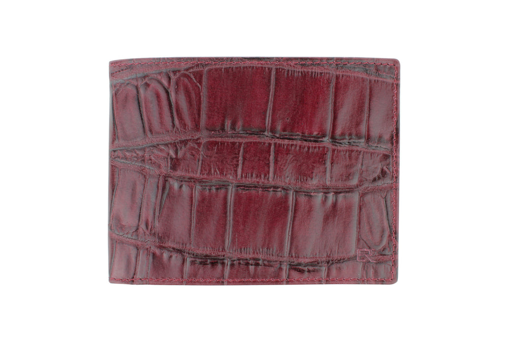 Burgundy mock crocodile wallet