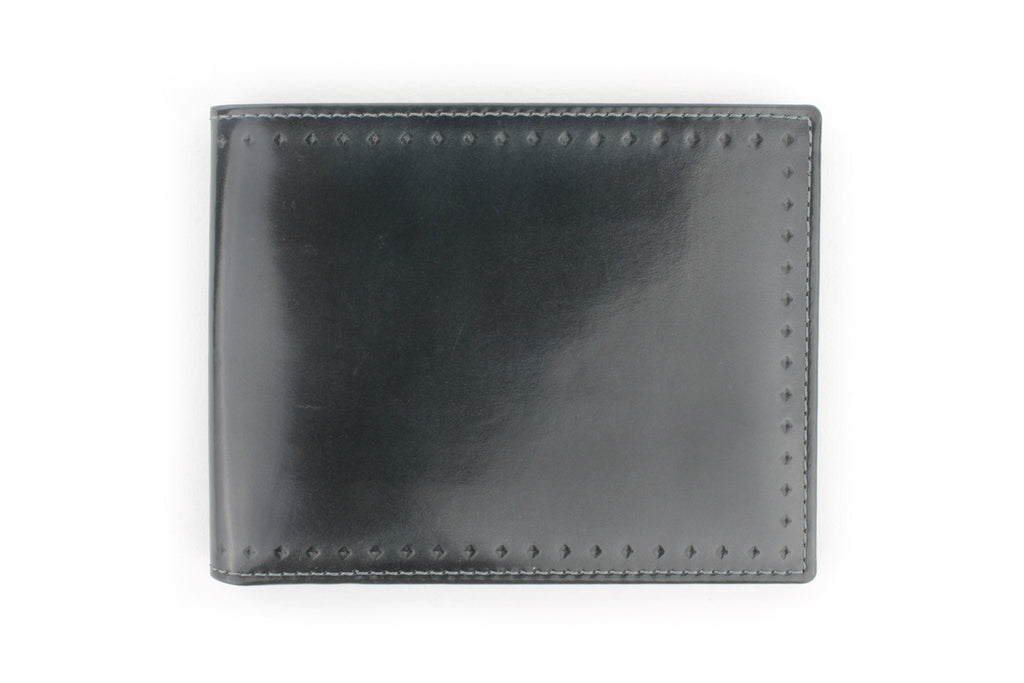 Asphalt Grey burnished cordovan perforated detail wallet